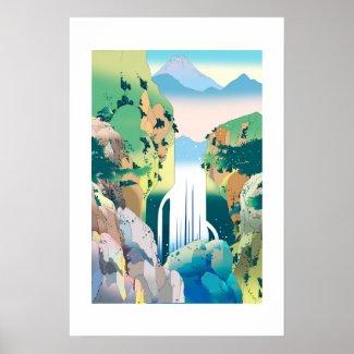Cascade of deep ravine poster