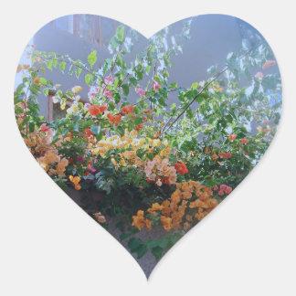 Cascade of Flowers on a Wall Heart Sticker