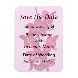 Cascade of Magenta Orchids Save the Date Rectangular Photo Magnet