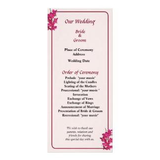 Cascade of Magenta Orchids Wedding Program
