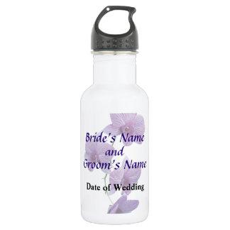 Cascade of Purple Orchids Wedding Water Bottle
