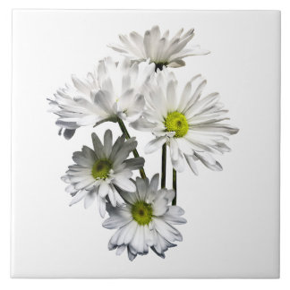 Cascade of White Daisies Large Square Tile