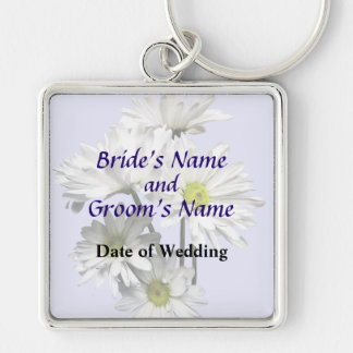 Cascade of White Daisies Wedding Products Keychains
