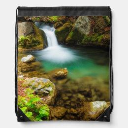 Cascade on Hare Creek, California Drawstring Bag