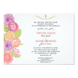 Cascading Abstract Flowers Wedding Invitation