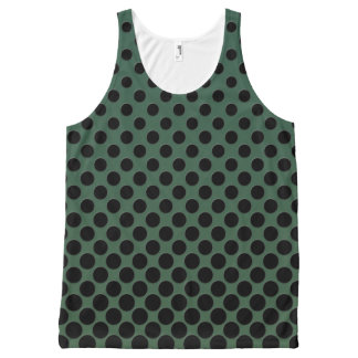 Cascading big to small black circles dark green All-Over print tank top