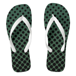 Cascading big to small black circles dark green flip flops