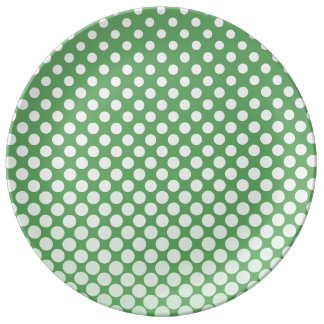 Cascading big to small white circles lime green dinner plate