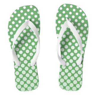Cascading big to small white circles lime green flip flops