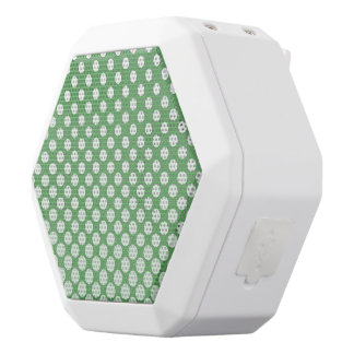 Cascading big to small white circles lime green white bluetooth speaker