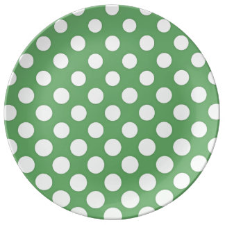 Cascading big white circles lime green porcelain plate
