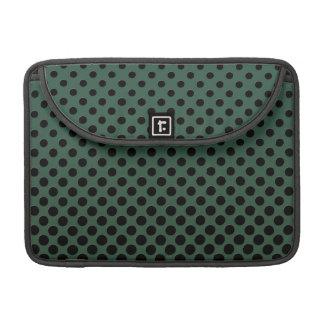 Cascading Black circles on dark green MacBook Pro Sleeves