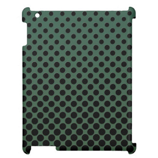 Cascading black polka dots on dark green case for the iPad 2 3 4