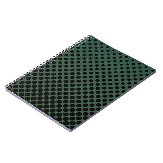 Cascading Black polka dots on dark green Notebook