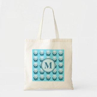 Cascading Blue Snowflake Monogram Tote Bag