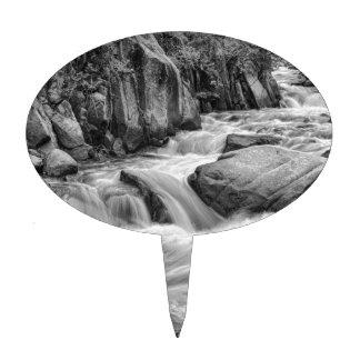 Cascading Colorado Rocky Mountain Stream BW Cake Topper