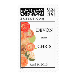 Cascading Fall Flowers Wedding Postage