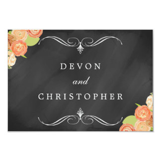 Cascading Floral Chalkboard Wedding Response Cards Invitations