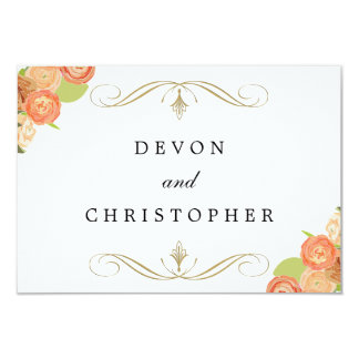 Cascading Floral Wedding Response Cards Announcement