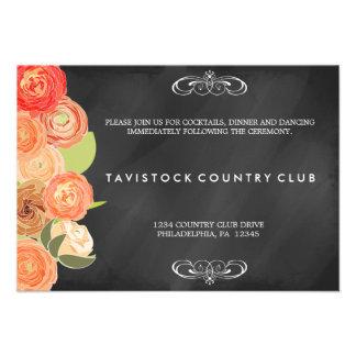 Cascading Flowers ChalkboardWedding Reception Card
