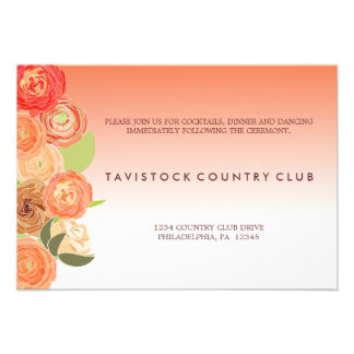Cascading Flowers Ombre Wedding Reception Card