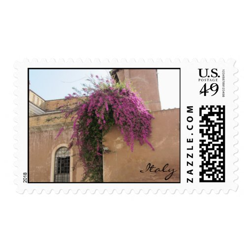 Cascading Flowers on an Old Building Postage