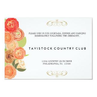 Cascading Flowers Wedding Reception Card
