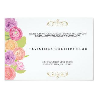 Cascading Flowers Wedding Reception Card Custom Invitations