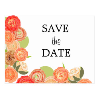 Cascading Flowers Wedding Save the Date Post Card