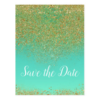 Cascading Gold Glitter Glam Trendy Save the Date Postcard
