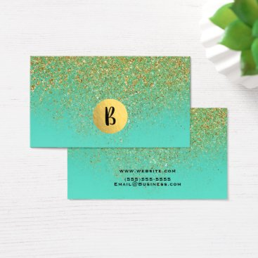 Cascading Gold Glitter & Teal Aqua Glam Trendy Business Card