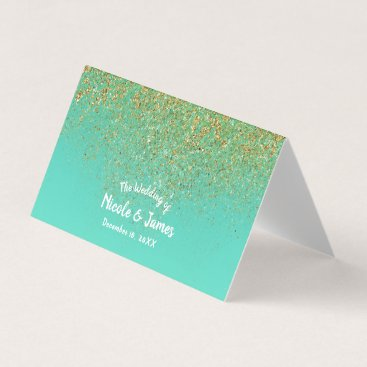 Cascading Gold Glitter Teal Aqua Party Table Seat Place Card