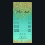 """Cascading Gold Glitter Teal Aqua Price &amp; Service Rack Card<br><div class=""""desc"""">Customize with any text</div>"""
