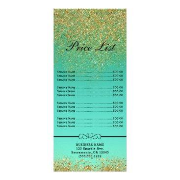 Cascading Gold Glitter Teal Aqua Price & Service Rack Card