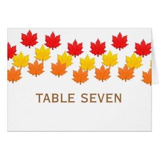 Cascading Leaves Fall Wedding Table Card card