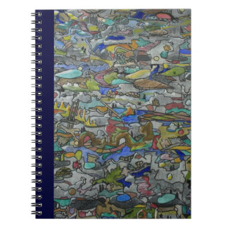 Cascading Pathways Mixed Media Painting Spiral Notebook
