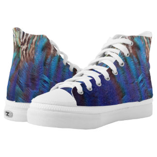 Cascading Peacock Feather Printed Shoes