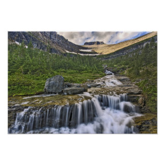Cascading stream, Glacier National Park, Poster