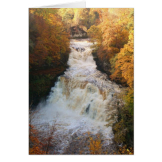 Cascading Waterfall in Autumn Corra Linn Card