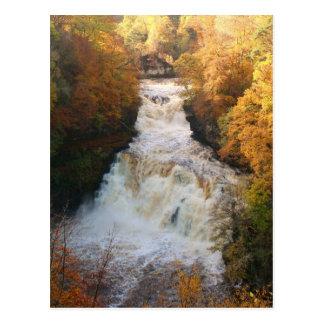 Cascading Waterfall in Autumn Corra Linn Postcard