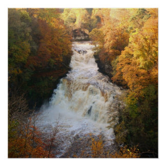 Cascading Waterfall in Autumn Corra Linn Poster