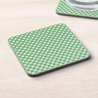 Cascading White circles on lime green Coaster