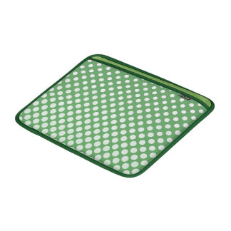 Cascading White circles on lime green Sleeves For MacBook Air