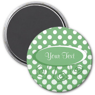 Cascading White circles on lime green 3 Inch Round Magnet
