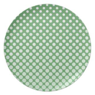 Cascading White circles on lime green Melamine Plate
