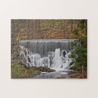 Cascading woodland waterfall and fall foliage jigsaw puzzle