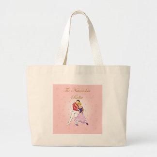 cascanueces-Clara y su príncipe (rosa) Bolsa Lienzo
