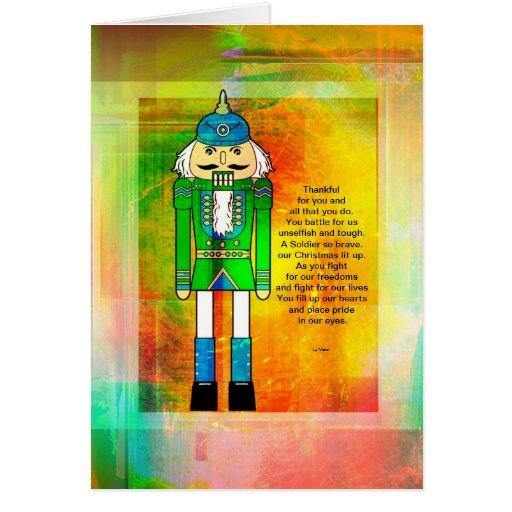 Cascanueces militar colorido con el poema y el Gru Tarjeta De Felicitación