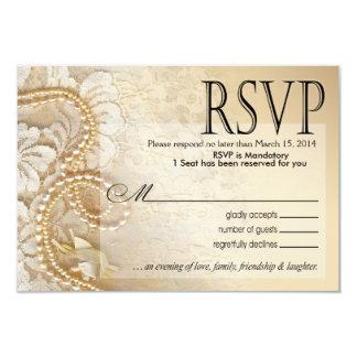 Cáscara de huevo de las perlas y del cordón RSVP- Invitacion Personal