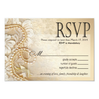 Cáscara de huevo de las perlas y del cordón RSVP- Invitaciones Personales
